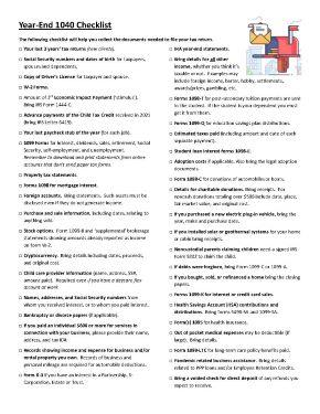 Year-end 1040 checklist