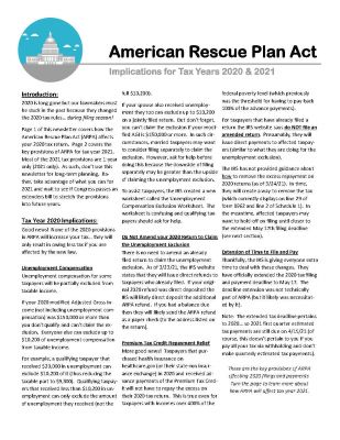 American Rescue Plan Act Newsletter