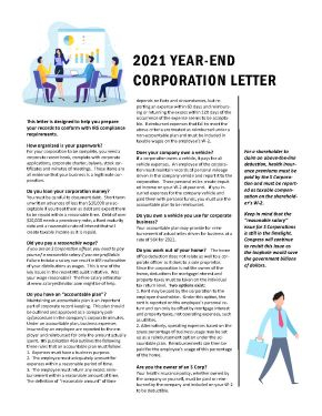 Year End Corporation Letter